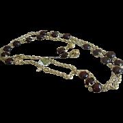 "1950's vintage Jewels by Trifari Rootbeer Lucite 55"" Necklace / earrings set Orignial tag"