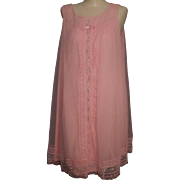 SALE Vintage ShadowLine Babydoll nightgown Hot pink Floral appliques size S