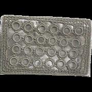 SALE Vintage Rosenfeld Evening clutch Crocheted Silver metallic designs Italy