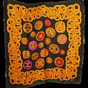 SALE Vintage CHANEL scarf 33.5 x 35.5 Large Square Multi-color Lion 4 ...