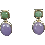 SALE 14k Yellow Gold Earrings Amethyst & Emerald Cabochon stones Pierced Post Dangle 585 stamp