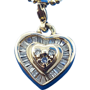 14k yellow gold baguette diamond heart pendant