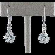 .80cttw Diamond  Cluster Dangle Earrings