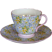 Shelley Cup & Saucer in the Primrose Chintz Pattern