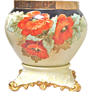 Large Hand Painted Limoges Jardiniere with Pedestal