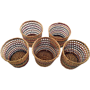 Vintage Mexican Straw Glass Holders - C. 1950-60s