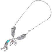 REDUCED Navajo Gary S. Custer -  Tufa Cast and Turquoise kokopelli and Feather Necklace