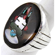 Zuni - Sterling & Multi Stone inlay Kachina Ring. Attributed to Lambert Homer Jr.