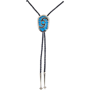 SALE Navajo, Carl & Irene Clark Sterling and High Grade Turquoise Bolo