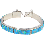 Navajo - Clayton Tom, Sterling with Opal Mosaic Inlay Bracelet