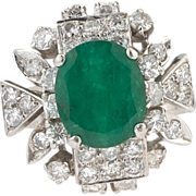 SALE A Vintage  truly breathtaking 2.3 carat Emerald & 1 carat Diamond dress ring