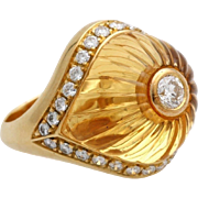 SALE A Vintage Carved Citrine, Diamond and 18K gold Ladies Ring