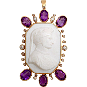 SALE A Rare Antique circa 1840 Neapolitan Lava Cameo Pendant of Dante Alighieri set in ...