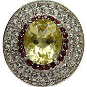 SALE A Spectacular 38.07CT Lemon Quartz, Garnet and White Topaz Ring set in 14K ...