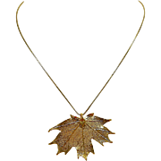 A Real Maple Leaf Plated with 22K Gold Pendant Necklace