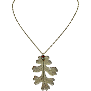 A Real Oak Leaf Plated with Sterling Silver Pendant Necklace