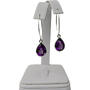 A Set of Large Amethyst And Sterling Silver Drop Earrings