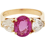 Exceptional Ruby And Diamond 18Kt Gold Three Stone Trilogy Ring