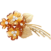 An Arts & Crafts Period Gold, Citrine & Diamond Flower Spray Brooch