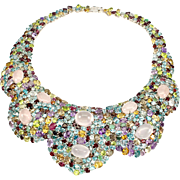 A Magnificent Statement Necklace Made of Precious and Semi Precious Gems set in 14K White ...