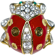 A Vintage signed Attwood & Sawyer red enamel and pave set clear Swarovski crystals Ladybug ...