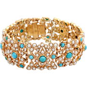 An Antique Victorian 10K gold Seed Pearl and Turquoise Bracelet