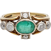 REDUCED A Vintage 1930's Emerald & Diamond Ring Set in 14KT Yellow Gold