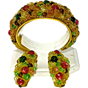 An Important Signed Coppola e Toppo Ornate Multicoloured Crystal And Glass Cuff and Earring ..
