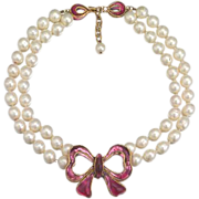 REDUCED A Maison Gripoix for Chanel Double Stranded Simulated Pearl Necklace with Pink Bow