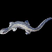 A Vintage Silver Tone & Swarovski Crystal Lizard Brooch signed Attwood & Sawyer