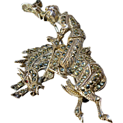A Vintage Sterling Silver Marcasite Rodeo Bronco Rider Brooch Pin