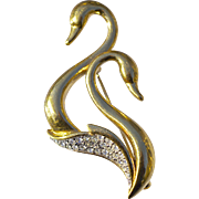 A Vintage Attwood & Sawyer A&S Swan Bird Gold plated & Swarovski Crystal Brooch Pin