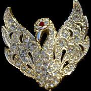 A Vintage Clear Rhinestone Crystal Figural Swan Brooch Pin Signed Attwood & Sawyer