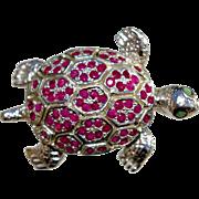 A Ruby Tortoise Pin Brooch Set In Sterling Silver