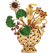 A Vintage 18KT Gold and Ruby  'Flowers in a vase' Brooch Pin