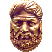 A Vintage 1930's Signed Joseff of Hollywood Gold Tone Bearded Swami Brooch Pin