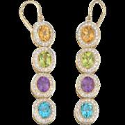 Pair of Vinatge Gemstone and 1.20ct Diamond Pendant 18kt Yellow Gold Earrings 1-½ ...