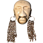 A Vintage 1938 Signed Joseff of Hollywood 'Headhunter' African Face Mask With Golden Earrings
