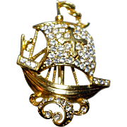 A Vintage Armada War Ship Brooch Pin from Attwood & Sawyer A&S