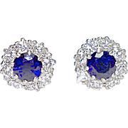 A Vintage Pair of Sapphire and Diamond Stud Earrings