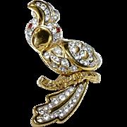A Vintage Gold Tone & Swarovski Crystal Cockatoo Bird Brooch Signed Attwood & Sawyer