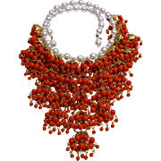 SALE An Early Signed Cadoro Faux Coral and Pearl Waterfall Necklace