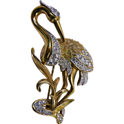 A Vintage Attwood & Sawyer A&S Heron Bird Gold plated & Swarovski Crystal ...