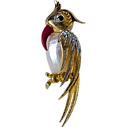A Vintage signed Marcel Boucher Gold Tone Mother of Pearl 'Jelly Belly' bird brooch from ...