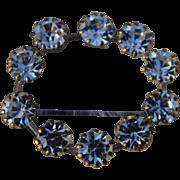 SALE A Vintage 1940's signed Austria Clear Rhinestone Crystal Oval Wreath Brooch Pin