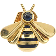 SALE A Signed Cartier Vintage 1993 18K Gold Sapphire & Black Enamel Bee Insect Brooch Pin