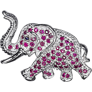 SALE A Sterling Silver and Ruby Gemstone Elephant Brooch Pin