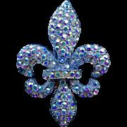REDUCED A 1950's Aurora Borealis Crystal Fleur De Lys Brooch Pin