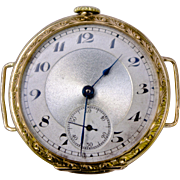1903-7 Antique Swiss Made Engraved 14K Gold Double HInged Belt Strap Wrist Watch