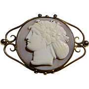 SALE A Large 1864 Antique Shell Cameo Brooch Pin of Hera In Hallmarked 9K Gold ...
